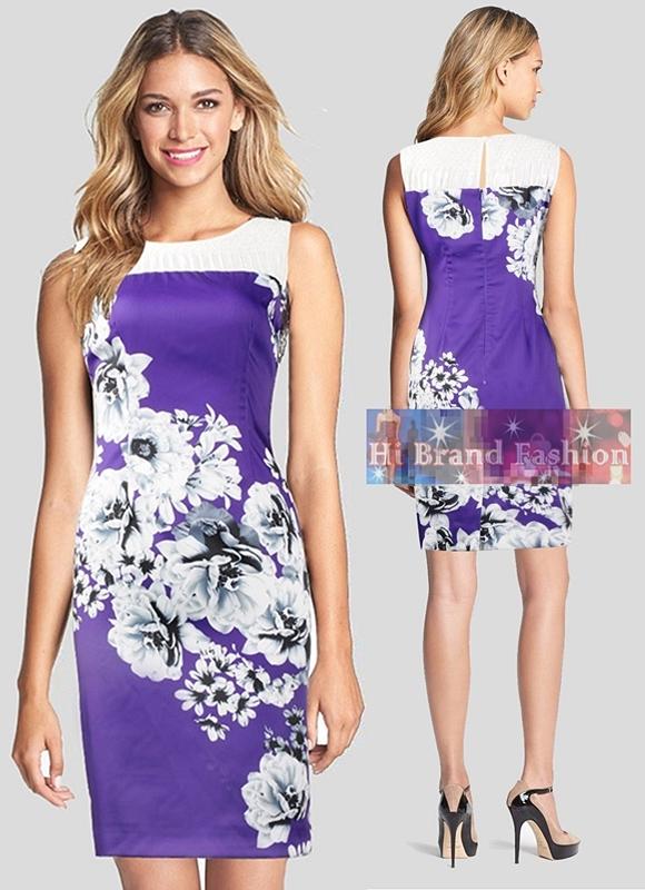 เอซอส/โคสท์ เดรสหรูออกงานแขนกุด ผ้าซาตินสีม่วงเข้มพิมพ์ลายดอกไม้ใหญ่สีขาว ตัดต่อผ้าลูกไม้ตาข่ายซีทรูอย่างดีสีขาวรอบคอ WY029 White Floral Print Lace Purple Dress พร้อมส่ง 4 ไซส์ค่ะ uk8 uk10 uk14 และ uk16
