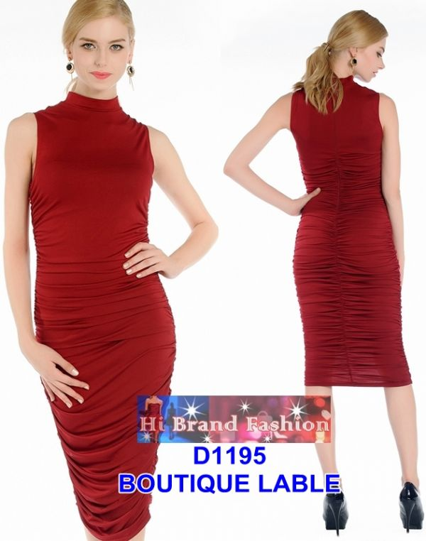 เดรสรัดรูปผ้าเจอร์ซี่สีไวน์แดง จับเดรปข้างปล่อยถ่วง สไตล์ H&M สวยเฉิดฉายโดดเด่นสะดุดตา L XL