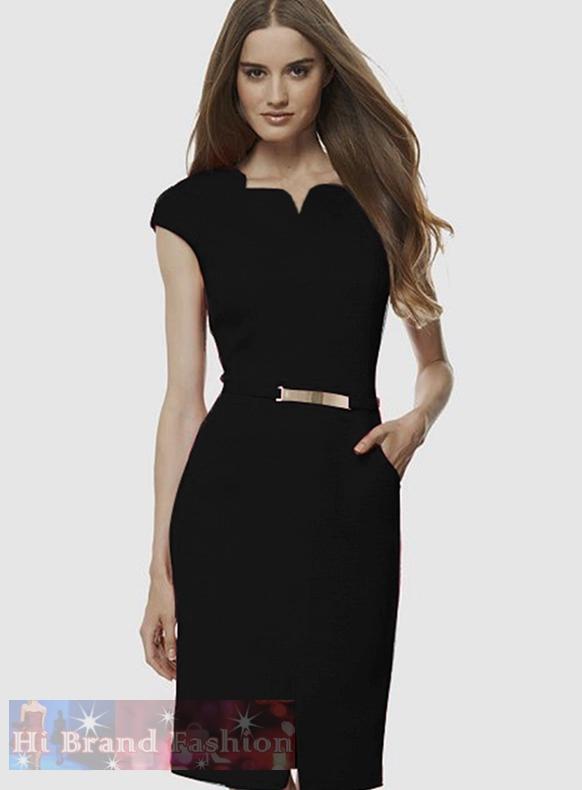 เดวิด ไมส์เตอร์ เดรสสาว CEO working woman ใส่ทำงานออฟฟิศ ผ้าเครปซาตินสีดำคอหยักโค้ง แขนล้ำ คาดเอวพร้อมหัวเข็มขัดสีทอง มีกระเป๋าข้างสะโพก สไตล์เรียบโก้ 1497 Black Formal Pencil Dress พร้อมส่ง 4 ไซส์ค่ะ uk8 uk10 uk12 และ uk16
