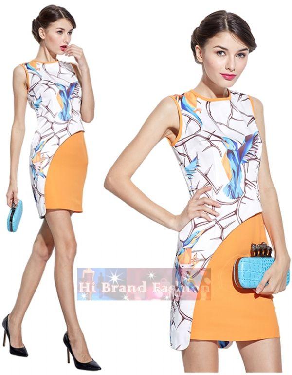 อลิซ โอดิน เดรสผ้าซาตินสีขาวพิมพ์ลายวาดรูปนกฮัมมิงเบิร์ด ตัดโค้งซ้อนทับกระโปรงสีส้มสด Humming Bird Dress พร้อมส่งครบ 5 ไซส์ค่ะ
