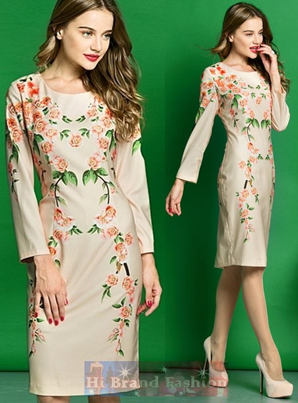 ดีแอนด์จี/โดลเช่ แอนด์ แกบาน่า เดรสใส่ออกงานแขนยาว ผ้าเครปสีพีชพิมพ์ลายดอกเหมย ดอกซากุระ แขนลูกไม้ขาวซีทรู แบบหวานๆ Cherry Blossom Print Lace Long Sleeves Off-White Color Dress พร้อมส่ง 4 ไซส์ค่ะ S M L XL