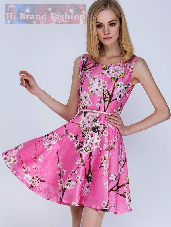 ดีแอนด์จี/โดลเช่ แอนด์ แกบาน่า เดรสใส่ออกงานแขนกุดกระโปรงบาน ผ้าไหมจีนสีชมพูพิมพ์ลายดอกเหมย ดอกซากุระ แถมเข็มขัดเข้าชุด Sleeveless Cherry Blossom Print Pink Silk Dress พร้อมส่ง 3 ไซส์ค่ะ  M L XL