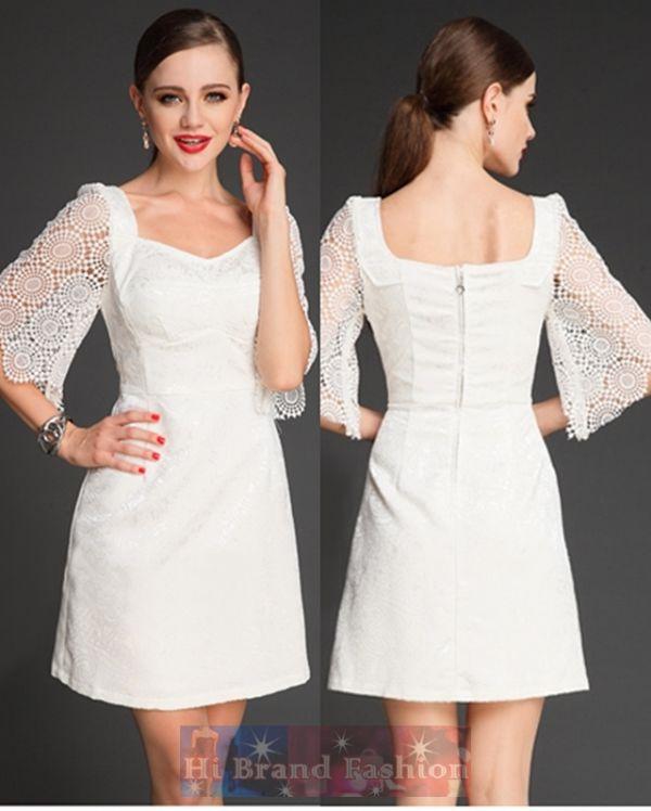 ดีแอนด์จี/โดลเช่ แอนด์ แกบาน่า เดรสใส่ออกงานแขนสั้น ทรง A คอเหลี่ยม ผ้าแจ็คการ์ดเนื้อบางแวววาวสีขาวตัดต่อแขนลูกไม้บาน อกเสริมฟองน้ำ  Lace Sleeves White A-Line Short Dress  size M