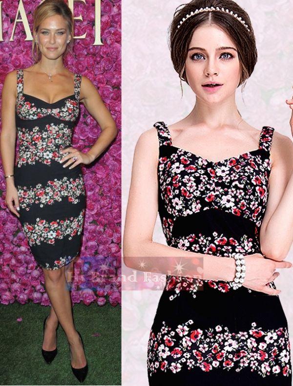 ดีแอนด์จี/โดลเช่ แอนด์ แกบาน่า เดรสสายเดี่ยว คอ V สีดำพิมพ์ลายดอกไม้แดง เบ้าอกเสริมฟองน้ำ Black Floral Sicilia Garland Print Corset Dress พร้อมส่ง 2 ไซส์ XL กับ XXL