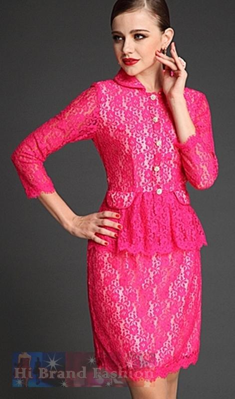 เดรสหรูออกงานแขนยาวมีปก ผ้าลูกไม้สีชมพูทั้งตัว ผ่าหน้าติดกระดุม ตัดต่อรอบเอวแต่งระบาย Long Sleeves Peplum Rose Color Lace Dress พร้อมส่ง size L