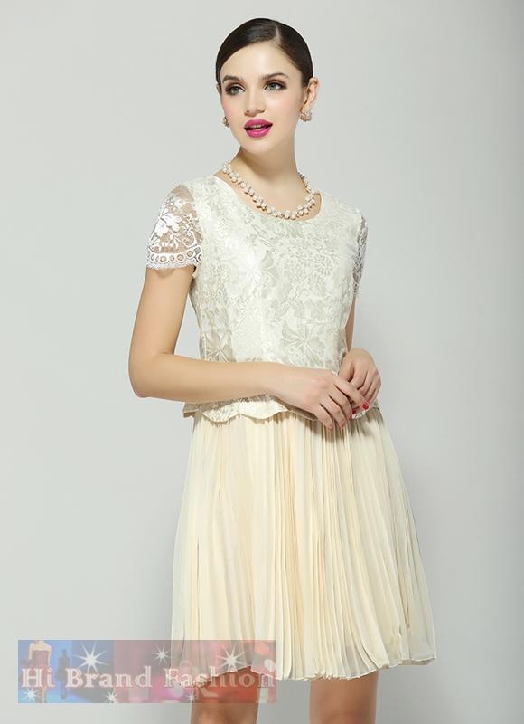 เดรสหรูออกงานแขนสั้น ผ้าลูกไม้ชีฟองสีครีมคลุมกระโปรงพลีทบาน หวานสุดๆ Sweet Vanilla Cream Pleat Skirt and Lace Dress พร้อมส่ง 3 ไซส์ S M XL