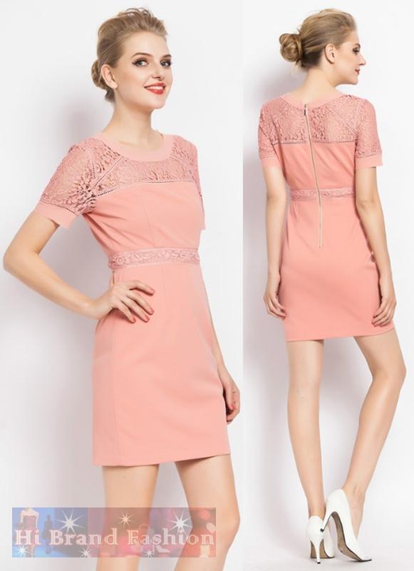 มาร์โคเบอร์  เดรสใส่ออกงานแขนสั้น ผ้าเนื้อดีแต่งลูกไม้รอบคอ แขน และรอบเอว  Peach color short-sleeved lace dress พร้อมส่งครบ 5 ไซส์ค่ะ