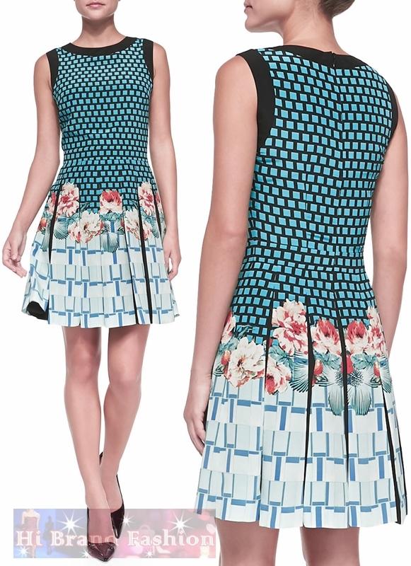 เอ็ทโทร ชุดเดรสแขนกุด ผ้าซาตินพิมพ์ลายตารางสีฟ้าดำ กับดอกไม้สีแสด กระโปรงจับจีบบาน สวยโดดเด่นกว่าใครได้ทุกวัน Sleeveless Plaid Floral Grid Print Dress พร้อมส่งครบ 5 ไซส์ค่ะ