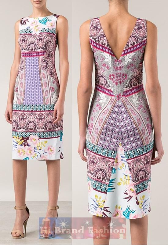 เอ็ทโทร เดรสแซคแขนกุดหลัง V ผ้าเนื้อบางพิมพ์ลายดอกไม้กับลายกราฟฟิคแฟนตาซีหลากสี Hawaiian paisley pattern print pencil dress พร้อมส่งครบ 5 ไซส์ค่ะ