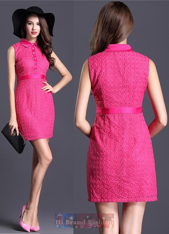 เดรสหรูออกงานแขนกุดปกบัว ผ้าแก้วปักลายตารางสีชมพูสดทั้งตัวพร้อมซับใน ผ่าหน้าติดกระดุมมุก Hot pink mosaic slim dress พร้อมส่งครบ 5 ไซส์ค่ะ