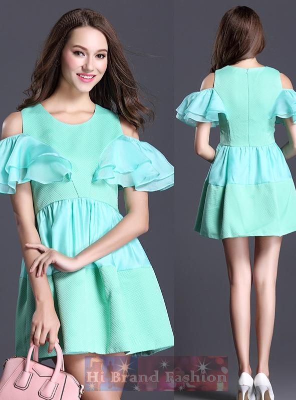 เดรสใส่ออกงาน เดรสสั้นมีแขนตัดไหล่ ผ้าทอลายนูนสีเขียวมิ้นท์ตัดต่อผ้าโปร่งเนื้อประกาย แขนผีเสื้อ กระโปรงสุ่มใส่น่ารักๆ Fairy mint green strapless lotus sleeves short dress พร้อมส่ง 4 ไซส์ S M L XL