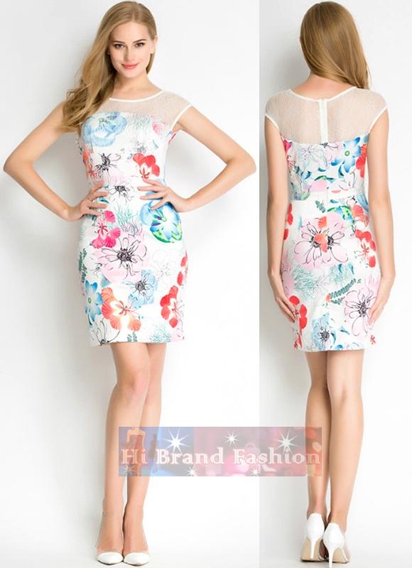 เดรสออกงานแขนกุด ผ้าลูกไม้ยืดสีขาวตัดต่อผ้าแพรบางพิมพ์ลายดอกไม้ใหญ่หลายสี งานตามแบบแบรนด์ดัง French Connection multi floral print reef Dress พร้อมส่ง 4 ไซส์ค่ะ uk10 uk12  uk14 และ uk16