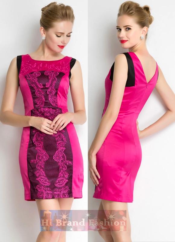 เดรสหรูออกงานแขนกุด ผ้าซาตินสีชมพูเบอร์รี่ปักลายลูกไม้ตาข่ายถักสีดำ งานปักประณีตงดงาม Berry pink embroidered  black crochet net dress พร้อมส่งครบ 5 ไซส์ค่ะ