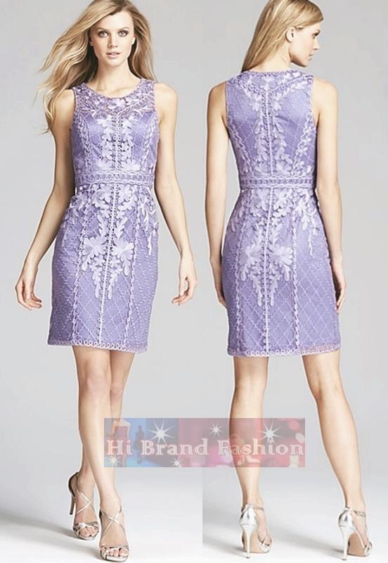 ซู หว่อง เดรสใส่ออกงานแขนกุด ผ้าแก้วปักลายเดินเส้นขดโค้งหรูหรา รองพื้นด้วยผ้าซาตินสีม่วงไลแลคหวานๆ  Lilac purple sleeveless high neck soutache dress