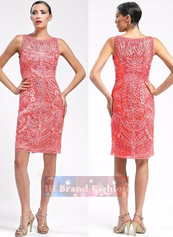 ซู หว่อง เดรสใส่ออกงานแขนกุด ผ้าตาข่ายบุหงาสีแสดปักลายเดินเส้นแถบผ้าขดโค้งสวยหรู Red luxury heavy appliques mesh embroidery dress พร้อมส่ง 4 ไซส์ uk10 uk12 uk14 uk16