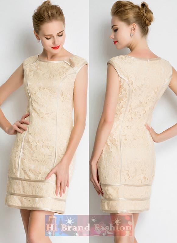 เดรสหรูออกงานแขนกุด ผ้าลูกไม้อย่างดีสีครีมตัดต่อแต่งผ้ากุ๊นขอบมันเงา งานตามแบบแบรนด์ดัง Tadashi Shoji Beige cream banded Lace Sheath Dress พร้อมส่ง 3 ไซส์ uk8 uk10 uk12
