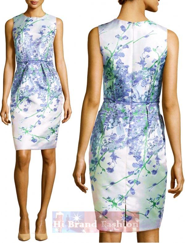 คาร์เมน มาร์ค เดรสแขนกุดสีขาวพิมพ์ลายดอกไม้สีม่่วงแซมก้านเขียว White Periwinkle Sleeveless Floral Sheath Dress พร้อมส่ง 4 ไซส์ค่ะ uk8 uk12 uk14 uk16