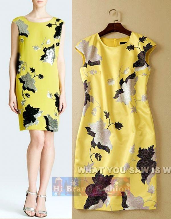เดรสแขนล้ำ ผ้าซาตินสีเหลืองพิมพ์ลายดอกไม้  Harriet Yellow Printed Dress in Citrine Floral พร้อมส่งครบ 5 ไซส์ค่ะ