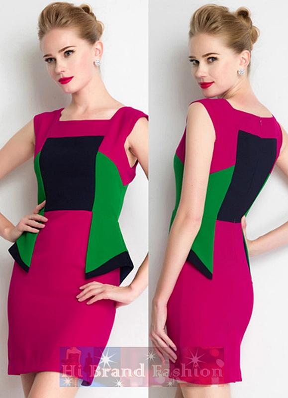 เดรสสาว CEO working woman ใส่งานนัดสำคัญที่ต้องการสร้างความโดดเด่นทันสมัย เดรสคอเหลี่ยมแขนกุดผ้านิ่มตัดต่อหลายสี ชมพูเบอร์รี่เขียวและน้ำเงินเข้ม สีสดจัดจี๊ด Multi colors block peplum waist dress พร้อมส่งครบ 5 ไซส์ค่ะ