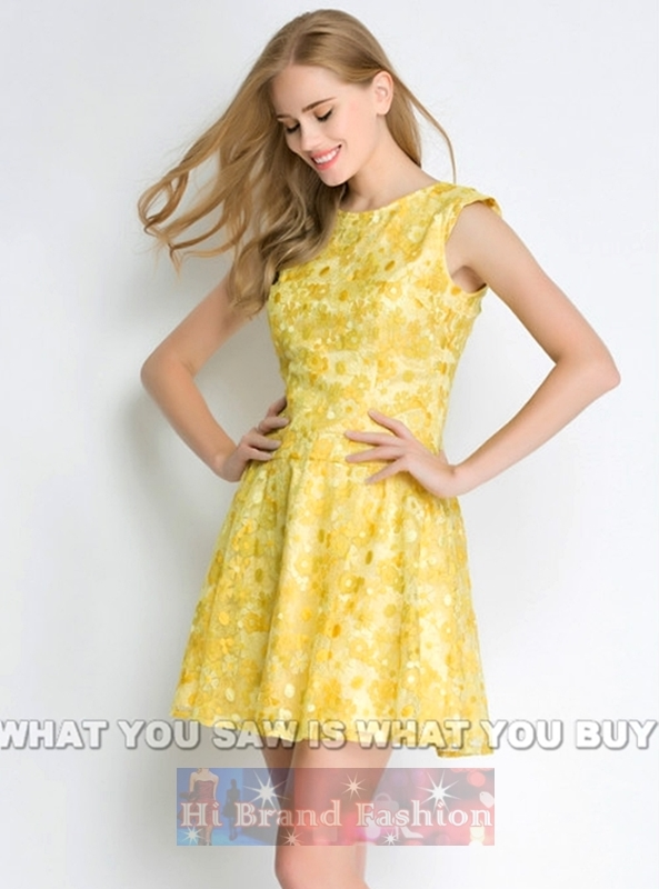 เดรสใส่ออกงานแขนกุด ผ้าลูกไม้ลายดอกไม้ต่อดอกบานเหลืองสะพรั่ง เอวต่ำกระโปรงบานย้วยค่ะ Yellow blossoms Lace low waist dress  พร้อมส่งครบ 5 ไซส์ค่ะ