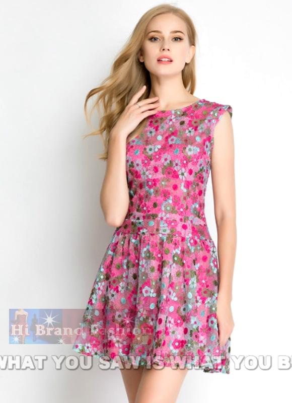 เดรสใส่ออกงานแขนกุด ผ้าลูกไม้ลายดอกไม้ต่อดอกหลายสีพร้อมซับในรองพื้นสีชมพูเข้มตัดกัน เอวต่ำกระโปรงบานย้วยสวยๆ ค่ะ Mulit color blossoms Lace low waist dress  พร้อมส่งครบ 5 ไซส์ค่ะ