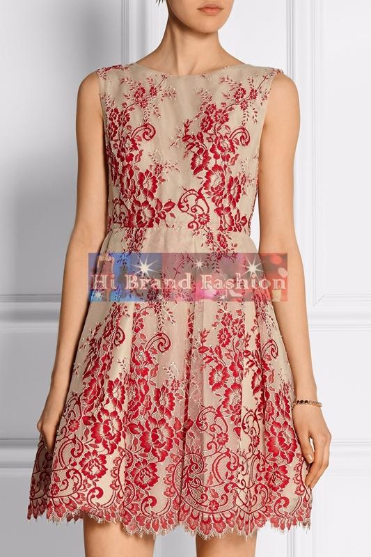 เดรสใส่ออกงาน ผ้าบุหงาสีนู้ดปักลายดอกไม้แดง uk14 uk16