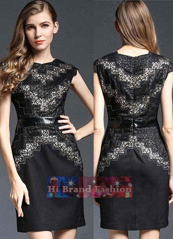 เดรสผ้าลูกไม้สีดำผสานผ้าโปร่ง ตัดต่อซิกแซกผ้าซ้อนสีเบจเงาประกาย ปักเทปผ้าและดิ้นเงินสวยหรู uk12