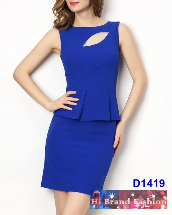 เดรสสาว CEO working woman สีน้ำเงินสด ตัดซีทรูเหนืออก แต่งเอวระบาย peplum มีเสน่ห์เซ็กซี่ size M