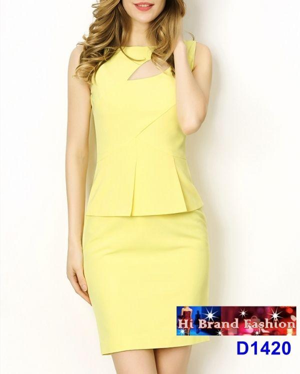 เดรสสาว CEO working woman สีเหลือง ตัดซีทรูเหนืออก แต่งเอวระบาย peplum มีเสน่ห์เซ็กซี่ size S