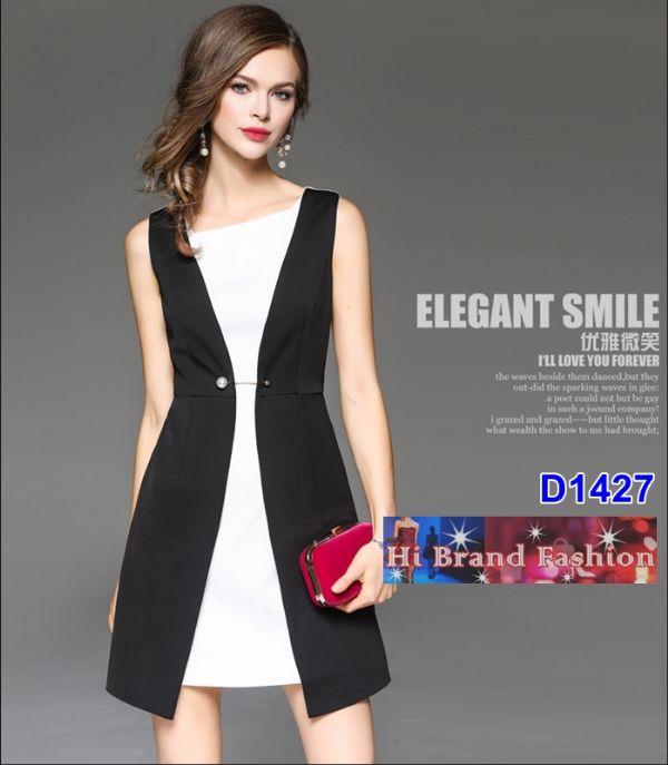 เดรสสีดำขาว ดีไซส์คล้ายใส่เสื้อกั๊กตัวยาวคลุมทับ ประดับเข็มกลัดมุกใหญ่เลอค่า S  XXL