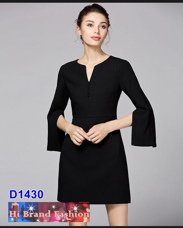 เดรสสาว CEO working woman สีดำแขนยาวผ่าแขน มีกระเป๋าล้วง  M  XL