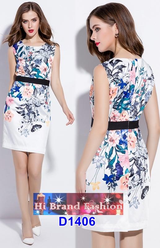 เดรสพิมพ์ลายดอกไม้วินเทจกับผีเสื้อ ศิลปะงดงามบนชุดสวย   L XL