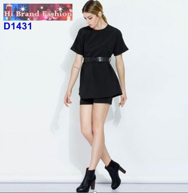 ชุดสีดำเซ็ท 3 ชิ้น เสื้อพร้อมกางเกงขาสั้น แถมเข็มขัด มีกระเป๋าล้วง S M