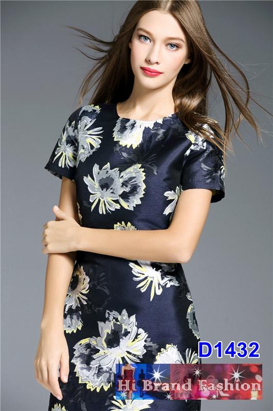 เดรสแขนสั้น ผ้าแจ็คการ์ดสี midnight blue ทอลายดอกไม้เหลืองดำ S M L XL