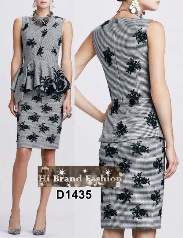 เดรสหรูออกงาน เดรสสาว CEO working woman ลาย houndstooth ปักดอกไม้สีดำ สวยคลาสิคดูดีทุกมุมมอง S M