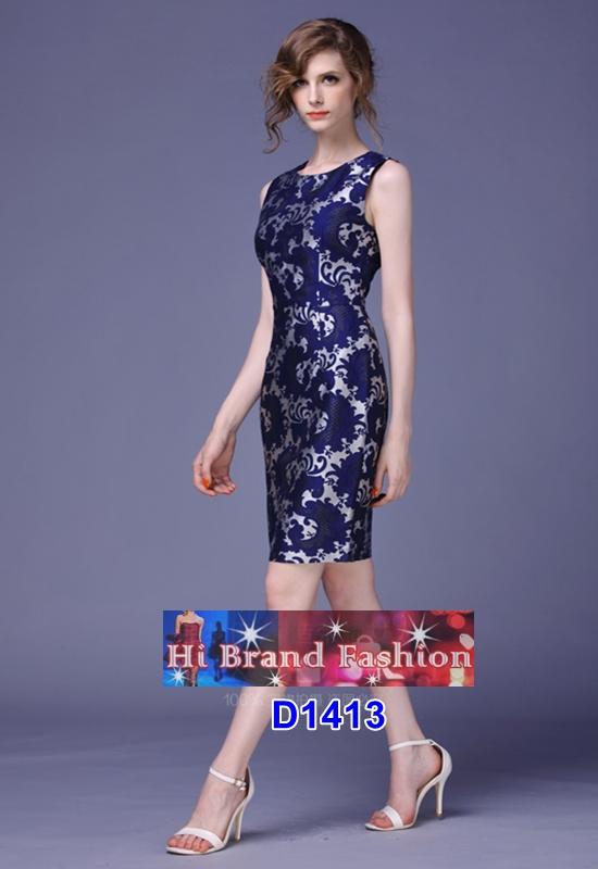 เดรสทอลายใบไม้กับหยาดน้ำค้างสี midnight blue size M L