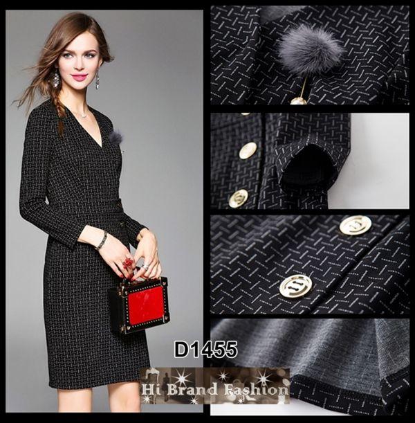 เดรสสาว CEO working woman สไตล์โค้ท ผ้านิ่มซอฟท์สีดำแทรกลายเล็กๆ แถมเข็มกลัดมุกปลายขนฟูเริ่ดๆ M L
