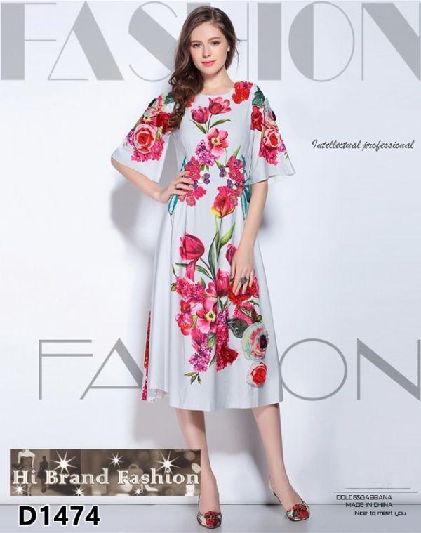 เดรสยาวสีเทาอ่อนพิมพ์ลายดอกไม้ชมพูแดง ปักดอกลอย สีสันสดใสโดดเด่นสวยหรู size M