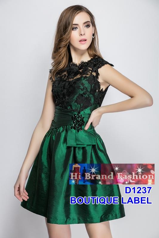 เดรสหรูออกงานลูกไม้ปักผ้าแก้วสีดำซ้อนชุดผ้าไหมจีนสีเขียวมรกตกระโปรงสุ่มบาน จับเดรปแต่งจิวสวยจับใจ US4