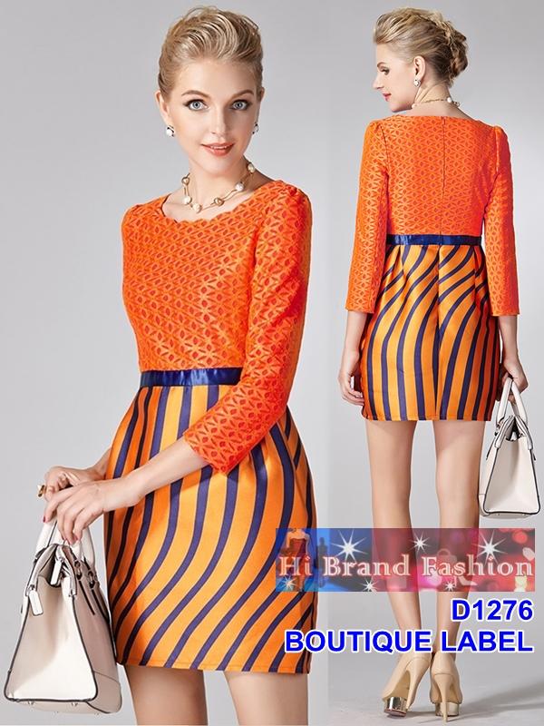 เดรสลูกไม้สีส้มสดตัดต่อผ้าไหมเทียมพิมพ์ลายแถบน้ำเงิน เพิ่มดีกรีร้อนแรง size XXL