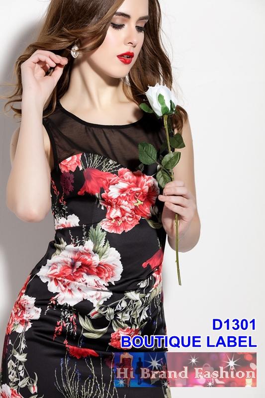 เดรสสีดำพิมพ์ลายดอกไม้แดง ซีทรูเซ็กซี่เหนืออกเพิ่มดีกรีเสน่ห์สาว  uk12 uk14 uk16