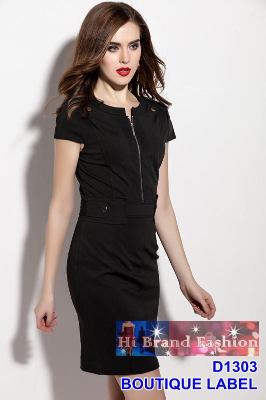 เดรสแขนสั้นสีดำตัดแต่งติดดุมซิปหน้า ลุคสาว CEO working woman มีครบ 5 ไซส์