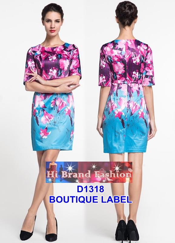 เดรสแขนสั้นผ้าแพรลื่นสีฟ้าพิมพ์ลายดอกไม้สีชมพู สีสวยโดดเด่น uk10