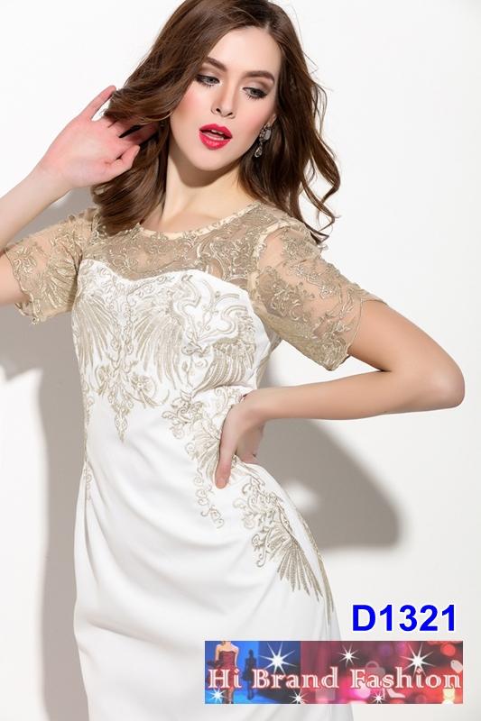 เดรสผ้าลูกไม้บุหงาสีเบจผสานผ้าจอร์เจียสีขาว ปักลายหรูหราสีทองระยิบเลอค่า size uk8