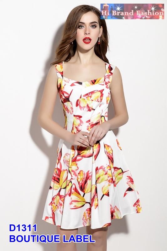 เดรสกระโปรงบานพิมพ์ลายดอกทิวลิปแดงสดใสใส่รับร้อนชิวชิว uk8 uk10