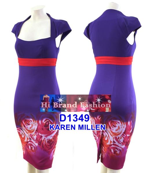 คาเรน มิลเลน เดรสทรงสลิมสีม่วงชมพูพิมพ์ลายดอกกุหลาบใส่เข้ารูปเซ็กซี่ uk10