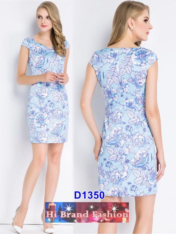 เดรสคอ V สีฟ้าพิมพ์ลายดอกไม้ใหญ่ 5 ไซส์