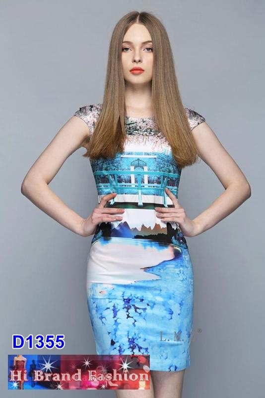 เดรสพิมพ์ลาย lay-out สวนสวยริมทะเลสาบสีฟ้างดงาม งานภาพศิลปะบนชุดสวยสุดประทับใจ uk14