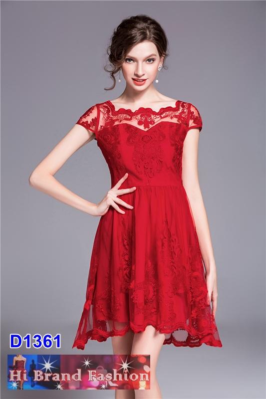 เดรสลูกไม้บุหงาปักลายหรูสีแดง กระโปรงบาน พร้อมซับในประกาย เหมาะใส่ไปงานแต่งงาน S M L