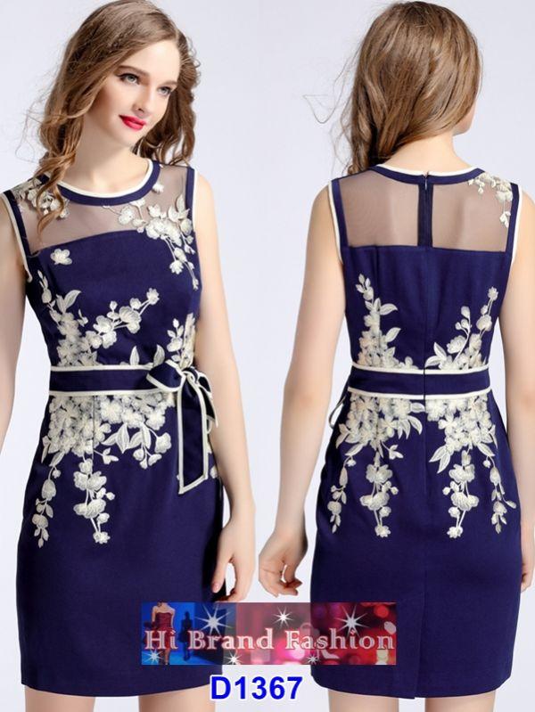 เดรสสี midnight blue ปักลายดอกไม้แต่งผ้าผูกเอว uk10 uk12 uk14 uk16